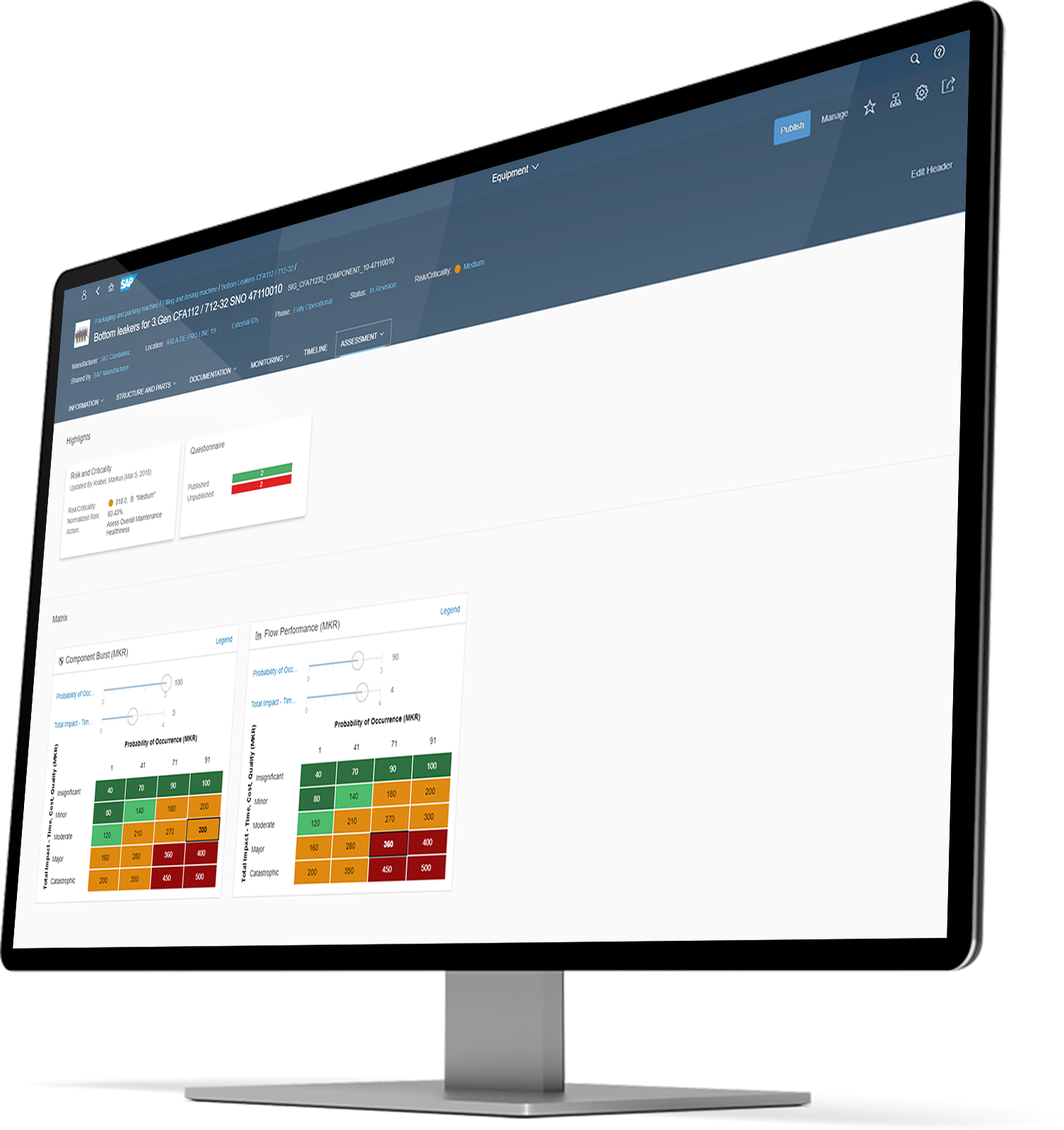 Monitor depicting SAP Asset Strategy and Performance Management interface