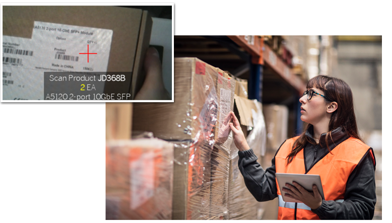 woman in warehouse picking products with enlargement of barcode scan details