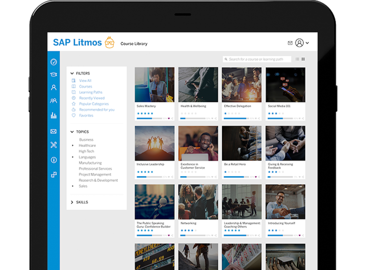 SAP Litmos course library in a tablet device