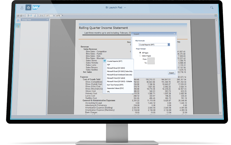 Rolling Quarter Income statement with a pop-window to export the file in a laptop device
