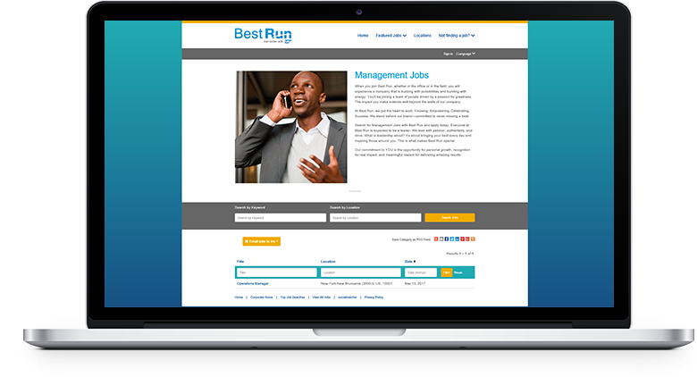 Laptop depicting Implement Recruiting Marketing Career Site Builder interface