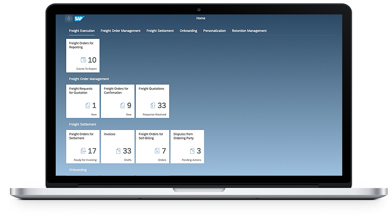 Freight Execution dashboard with Freight Order Management, Freight Settlement and Onboarding in a laptop device