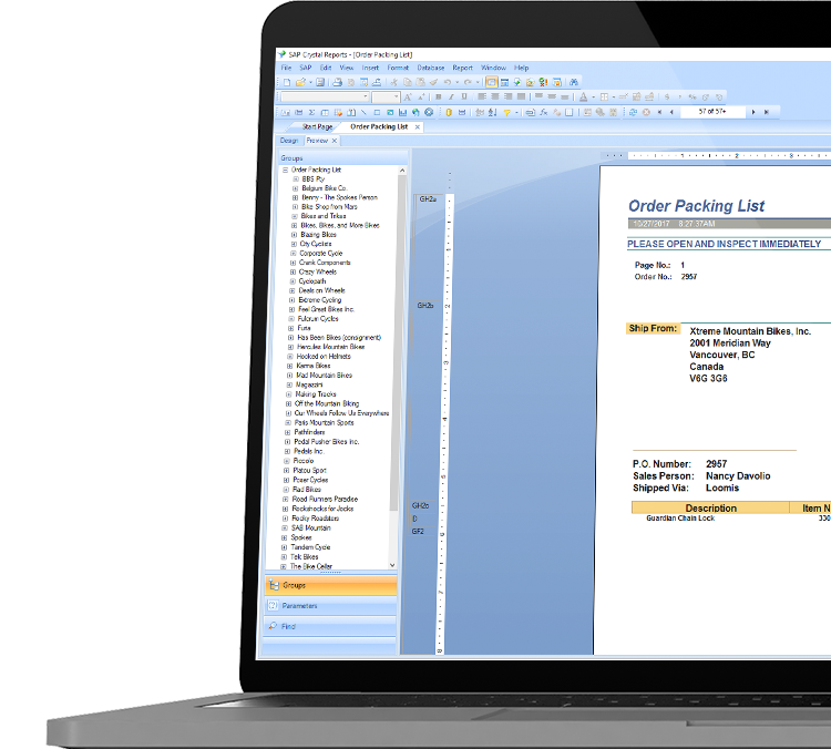 SAP Crystal Reports with Order packing list in a laptop device