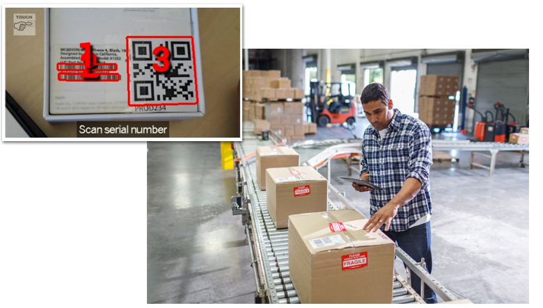 Man on warehouse scan assembly line with enlarged inset of barcode and UPC code