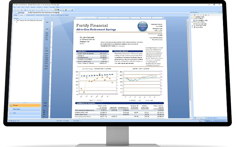 SAP Crystal Reports with Fortify Financial report in a desktop device