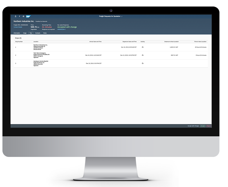 Freight Requests dashboard for Northern Industries Inc in a desktop device