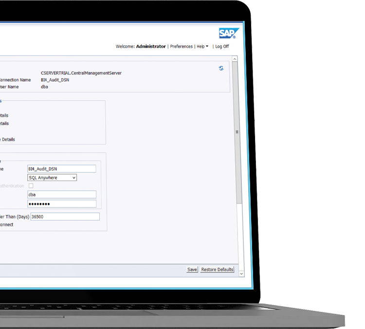 Central Management Console with Administrator login in auditing thread in a laptop device