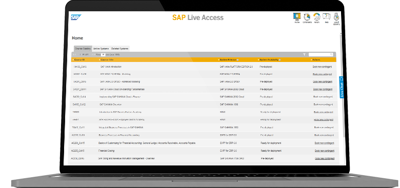 Laptop showing screenshot of SAP Live Access course listing