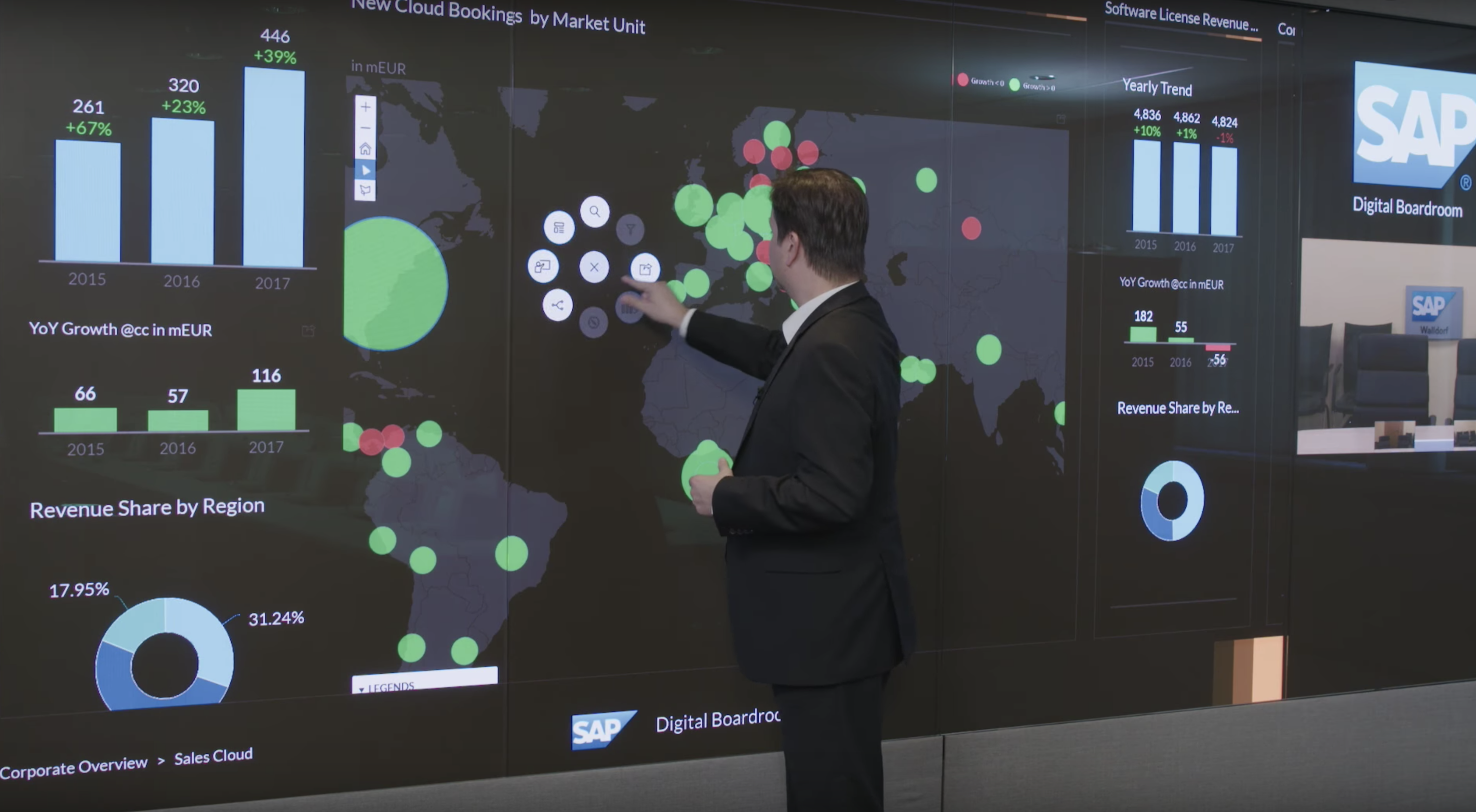 Video thumbnail image of man in digital boardroom with large touch screen wall panel.
