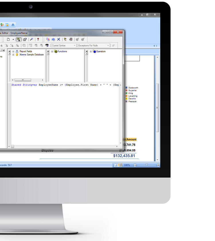 SAP Crystal Reports with a pop-window of formula workshop in a desktop device