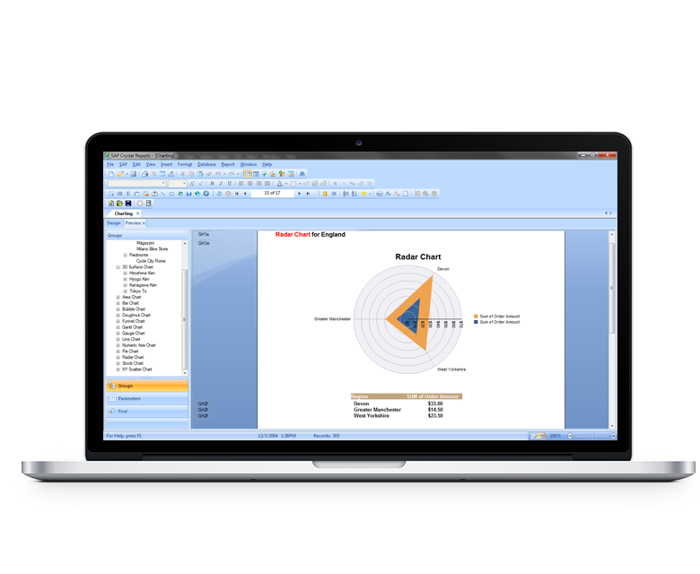 Laptop depicting SAP Crystal Reports interface