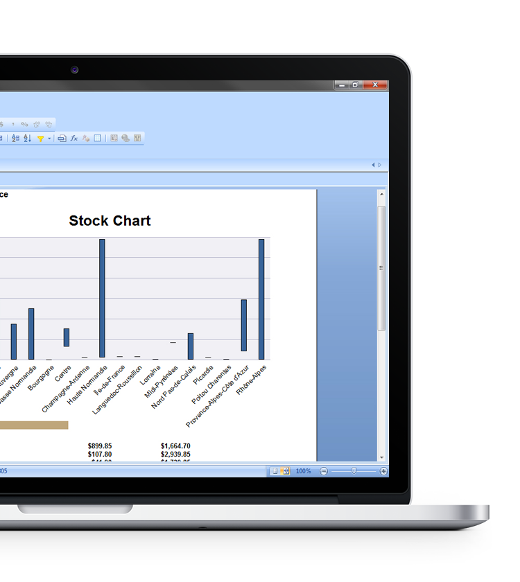 SAP Crystal Reports with stock chart in a laptop device